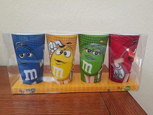 M&M Lenticular Cups Set of 4-24 oz. each Characters Blue, Green, Red & Yellow