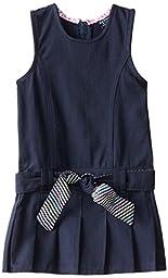 U.S. Polo Assn. Little Girls\' Brushed Twill Jumper, Navy, 4