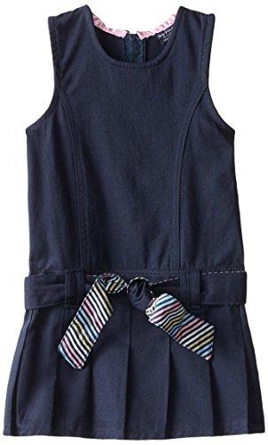 US Polo Assn Girls' Little School Uniform Dress or Jumper, Twill Belted Navy, 5