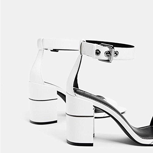 Chaussures Mi À Talons Pour 37 Paire JIANXIN Une Sandales Blanches Et hauts Hauts taille Talons À Épais De Talons Avec Des Femmes BdqSd
