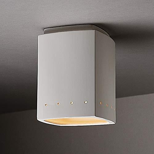 Justice Design Group Rectangular Ceramic Bisque 1-Light Flush Mount