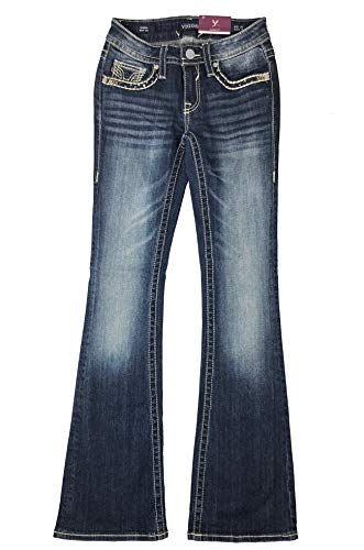VIGOSS Women's Kendra Classic-Fit Bootcut Embellished Flap-Pocket Jeans (Dark Wash, 31)