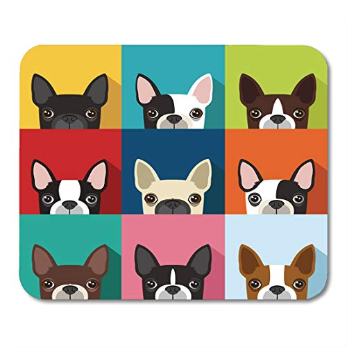 Emvency Mouse Pads Brown Fun Boston Terrier Pattern Full Color Human Head Flat Cute Mouse pad 9.5