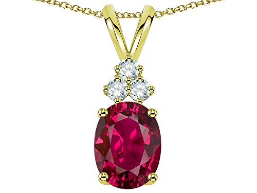 Star K Oval 8x6 mm Created Ruby Rabbit Ear Pendant Necklace 14 kt Yellow Gold (Ruby Oval Gold Necklace)