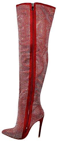 Punainen 212 Crystal Bling Rhinestone Boot Polvissa Pazzle Reiteen Tk Kengät Korkokenkiä Teräväkärkiset aqPgP5