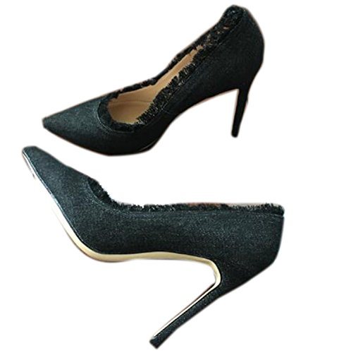 LR Top Quality Denim High Heels New Fashion Women Shoes black - Hk Jordan Store