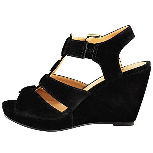 NEW WOMENS LADIES LOW MID HIGH HEEL STRAPPY WEDGES PEEP TOE SANDALS SHOES SIZE Black Suede UuDln