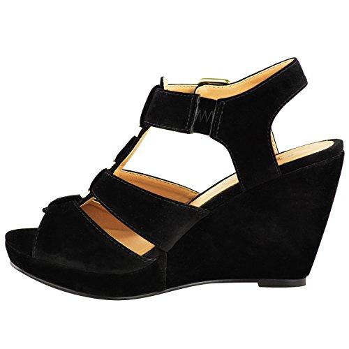 Mode Törstiga Kvinnor Låg Mellan Hög Häl Strappy Kilar Peep Toe Sandaler Skor Storlek Svart Faux Mocka