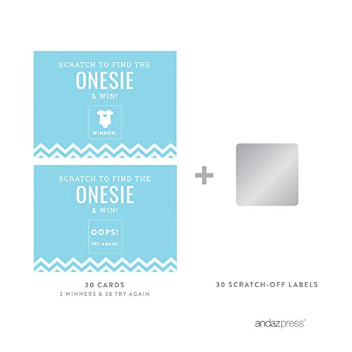 Andaz Press Baby Blue Chevron Boy Baby Shower Collection, Games, Activities, Decorations, Baby Scratch Off Winner Game Cards, 30-pack by Andaz Press (Image #1)