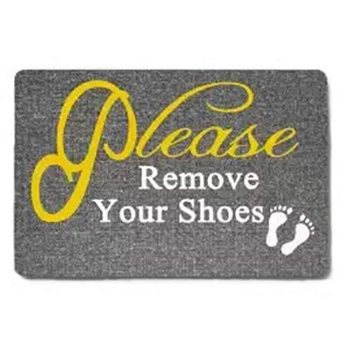 Famdecor Short Plush Material Please Remove Your Shoes Printed Doormat, Non-Slip Doormats, Size 23.6