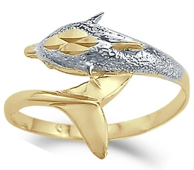 White Dolphin Ring Gold (Animal Fish Dolphin Ring 14k White Yellow Gold Band, Size 9)