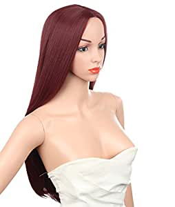 Kalyss Women's Long Straight Wine Red Mid-split Bangs Heat-resistance Kanekalon Full Hair Wig