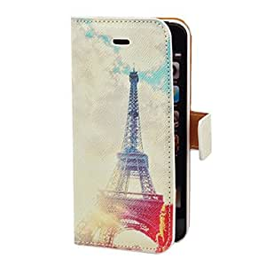 Piaopiao Sunrise and Eiffel Towel Pattern PU Full Body Case with Card Slot and Stand for iPhone 5/5S