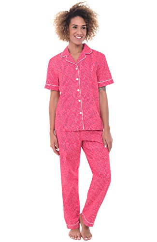 (Alexander Del Rossa Womens Woven Cotton Pajama Set with Pants, Button Down Pjs, XL White Squares on Pink, Piping)