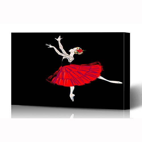 Ahawoso Canvas Prints Wall Art 16x12 Inches Artistic Ballerina Puff Costume Red Rose Nouveau Painting Ballet Dancer Design Wooden Frame Printing Home Living Room Office Bedroom