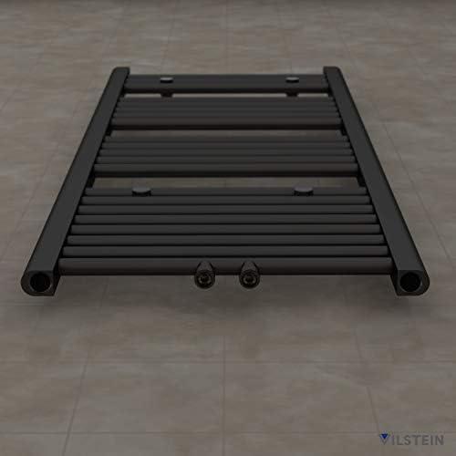 Schwarz Flach Seitenanschluss und Mittelanschluss 1150x600 mm VILSTEIN Badheizk/örper