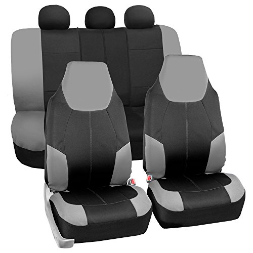 FH GROUP FB116115 Neo-Modern Neoprene Seat Covers, Airbag & Split Ready, Gray / Black Color -Fit Most Car, Truck, Suv,...