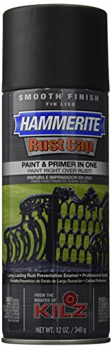 Masterchem Industries 42235 Hammerite Rust Cap Smooth Enamel Finish, 12 Oz Aerosol Can, 18 Sq.-Ft/Gal, Flat, Black ()