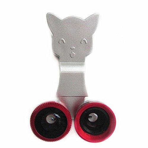 CiDoss Red Catlens 3-in-1 Universal Clip on Detachable Wide Angle+Macro+Fish-eye Lenses Kit for iPhone 4 4S 4G 5 5G 5S 5C Samsung Galaxy S2 I9100 S3 I9300 S4 I9500 Note1/2/3,BlackBerry
