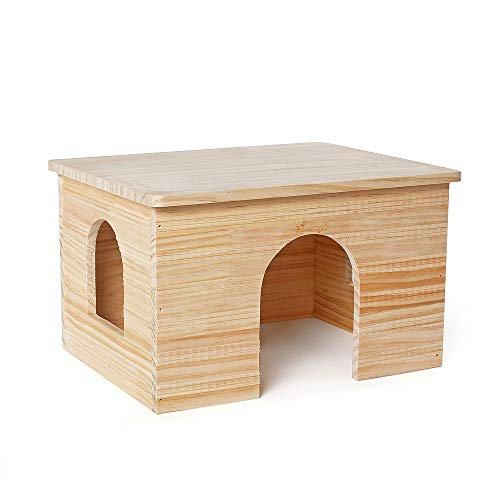 Niteangel Wood House with Window, Chinchilla and Guinea Pigs Hut Hideout (Rabbit Hiding House)