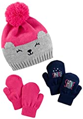 Hat set includes 2 pairs of mittens. Featuring pom pom and knit in designs
