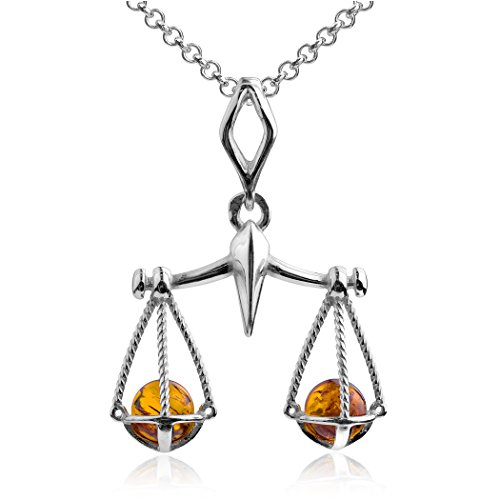 Sterling Silver Amber Scales of Justice Pendant