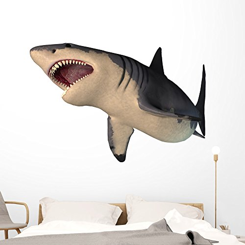 Wallmonkeys Megalodon Shark Wall Decal Peel and Stick Graphic Dinosaurs for Boys (60 in W x 45 in H) WM229163