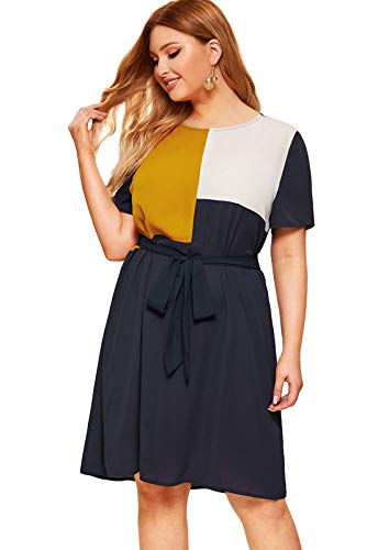 Milumia Women's Plus Size Short Sleeve Colorblock Chiffon Belted Short Dress