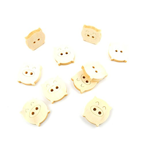 100x Arts Crafts Flatback Colorful Lovely Clothing Accessory Decoration Computer Painting Plush Wooden Scrapbook Sewing Wood Buttons Supplies NK2113 Fat Pig Natural Color