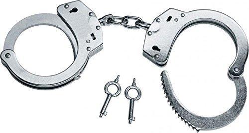 Hochwertige Handschellen vernickelte Stahlhandfessel mit Kette mit Double-Lock Sicherung