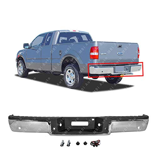 MBI AUTO - Chrome, Steel Rear Bumper Assembly for 2004 2005 Ford F150 Styleside w/Park 04 05, FO1103127 ()