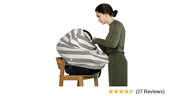 6ba4391e7bd Breastfeeding Nursing Cover + 1 Burp Cloth by HealthySam - Baby Car Seat  Covers - Shopping Cart, High Chair, Stroller and Carseat Canopy - Stretchy,  ...