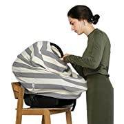 Breastfeeding Nursing Cover + 1 Burp Cloth by HealthySam - Baby Car Seat Covers - Shopping Cart, High Chair, Stroller and Carseat Canopy - Stretchy, Breathable Scarf and Shawl - Cotton - Brown Stripes