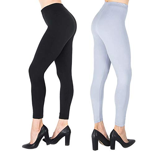 (NUUR 2-Pack High Waist Leggings, Ultra Soft Workout Tights for Women Girls, All Match Style in Ankle)