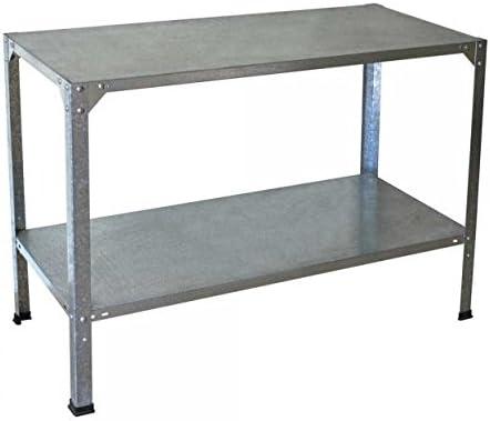 Banco de trabajo mesa de efecto invernadero de acero galvanizado – proporciona 2 estantes – resistente: Amazon.es: Jardín