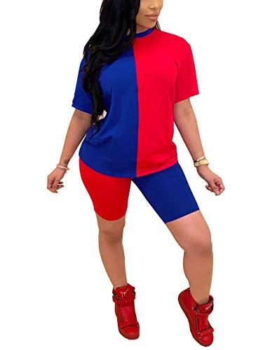 Two Piece Short Set for Women Color Block Short Sleeve Tracksuit Shirt Shorts Jogger Sportswear Set Red&Blue XL