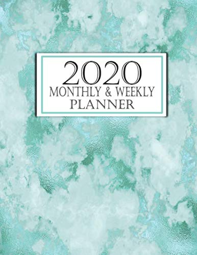 Monthly & Weekly Planner: Monthly Calendar With Weekly Bible Verses Counting Blessings and Places for Prayer Request Teal Marble (2020 Christian Monthly Planners Band 17)