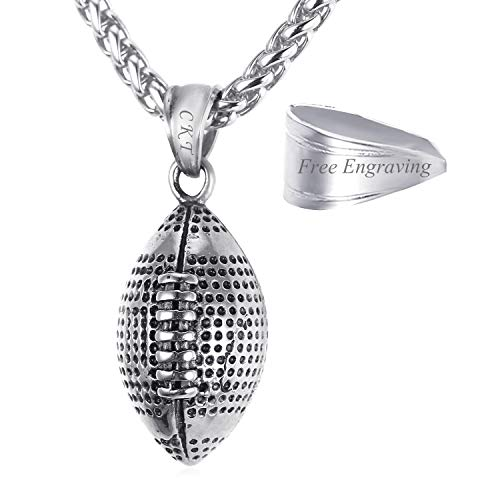 (U7 Men Gift Cool Rugby Pendant Necklace Jewelry Fashion Wheat Chain American Style Football Pendant)