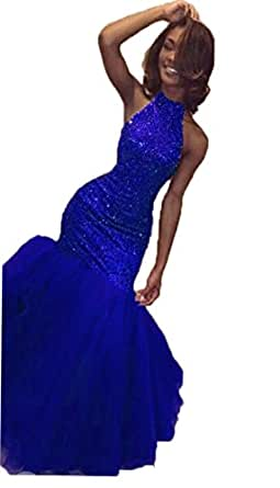 XingMeng Sexy Mermaid Prom Evening Dresses Beaded Halter Sequin Formal Gowns Royal Blue US 10