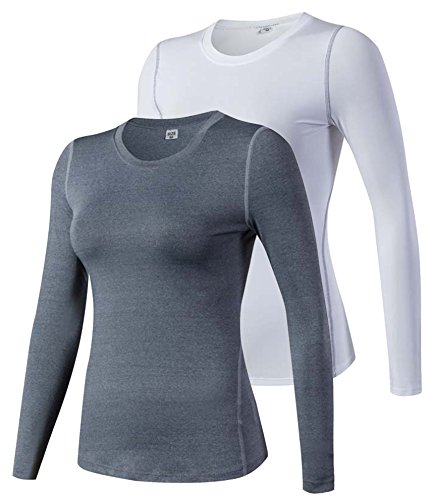 (HuaTu Women Performance Compression Base Layer Long Sleeve Crew Neck Tops Tee T Shirts (US Sizes XL, 2 Pack Gray & White) )