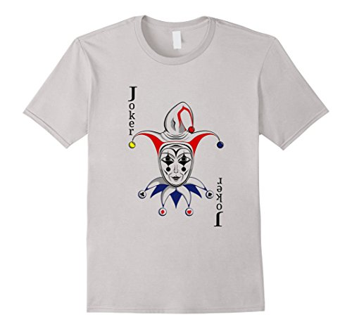 Men's Joker Playing Card T-Shirt Medium Silver (Playing Card Joker Costume)