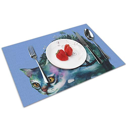 - Cozystore Placemats Set of 4, Watercolor Cat Table Mats Washable Placemats for Dining Table Wipe Clean, Non-Slip Heat Resistant Kitchen Table Mats Easy to Clean, 12