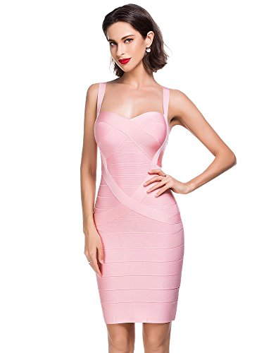 Party Elmer Cocktail Robe Bodycon Robe Femme Rayon Club Light Femme Strap amp; Dress Pink Evening Soir Sleeveless Bandage Alice 8Y5qwvxZn