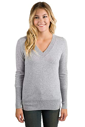 00% Pure Cashmere Long Sleeve Ava V Neck Sweater (L, Grey) ()