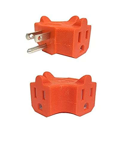 UrbHome 3 Way Outlet Adapter Wall Plug, 3 Outlets, Color Orange ...