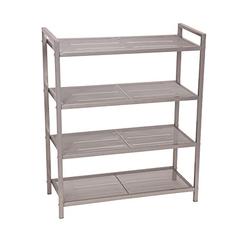 Household Essentials 4-Tier Mesh Shoe Rack, Nickel