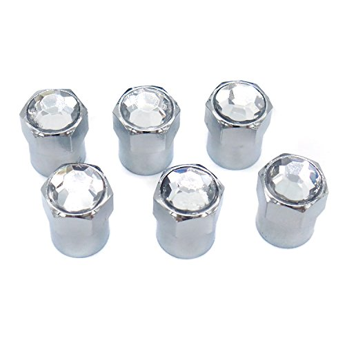 6-piece set, Hot Pink Chrome Air Cover fits Schrader Valves Sparkle Rider Crystal Rhinestone Bling Tire Valve Stem Caps Truck or Bicycle Wheel Accessory Motorcycle Cool Car