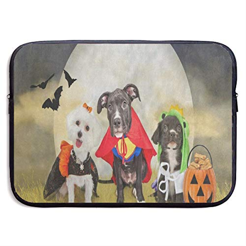 (Funny Design Hipster Puppy Dog Dressed in Halloween Costumes Laptop Sleeve Waterproof Neoprene Diving Fabric Protective Briefcase Laptop Bag for IPad,)