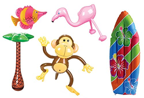 HAPPY DEALS ~ Tropical Inflate Assortment - Includes - Inflatable Monkey, Inflatable Surfboard, Inflatable Palm Tree, Inflatable Fish, Inflatable Flamingo