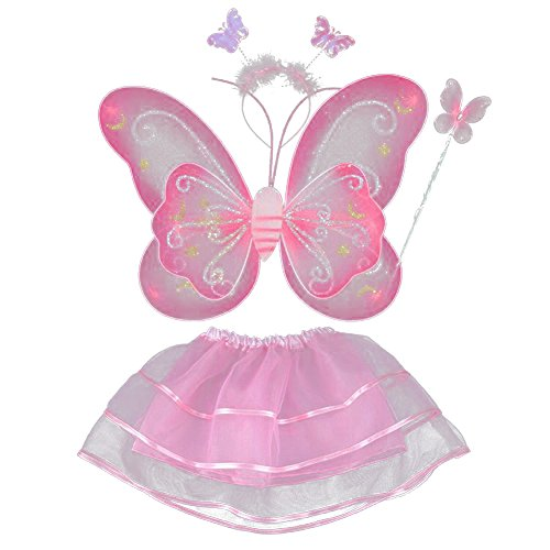 [BOBORA Fairy Girl Butterfly Wing Wand Headband Tutu Skirt Halloween Costume Set] (Tinkerbell Fairy Costumes For Women)